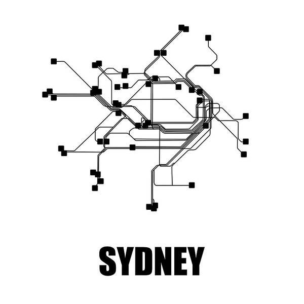 Sydney Poster featuring the digital art Sydney White Subway Map 1 by Naxart Studio