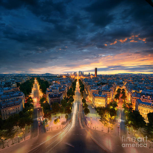 Capital Poster featuring the photograph Amazing View To Night Paris by Im photo