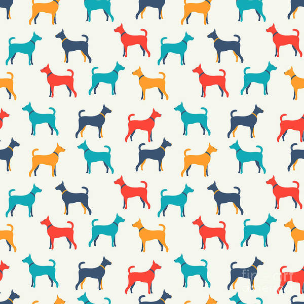 Crowd Poster featuring the digital art Animal Seamless Vector Pattern Of Dog by Kannaa