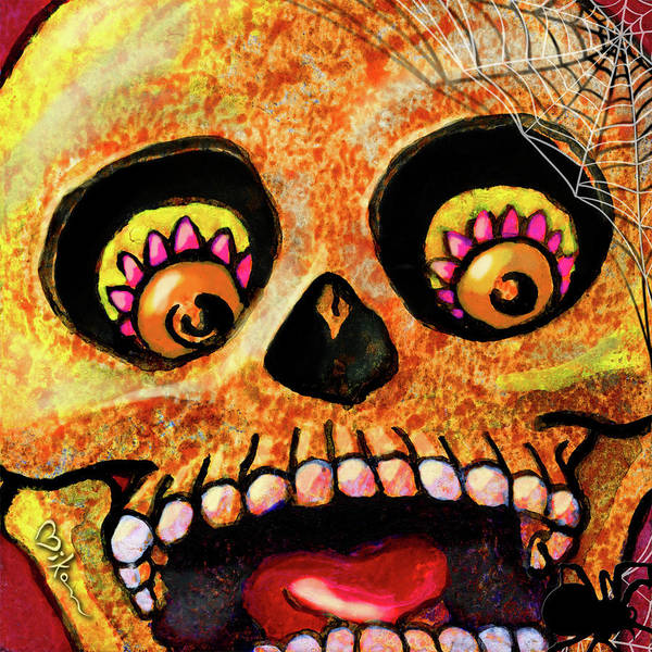 Day Of The Dead Poster featuring the painting Aranas Sugarskull Of Spiders by Miko Zen