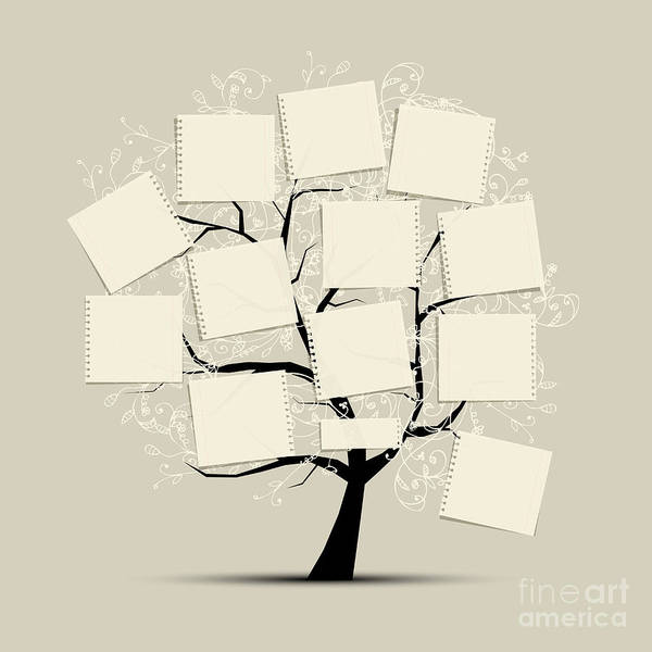 Template Poster featuring the digital art Art Tree With Papers For Your Text by Kudryashka