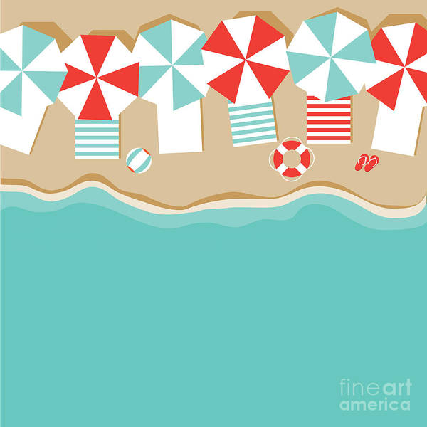 Template Poster featuring the digital art Beach Umbrellas Flat Design Background by Michele Paccione