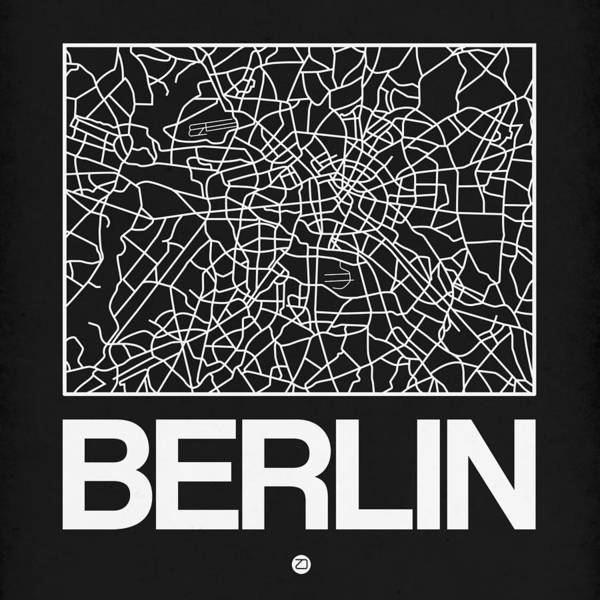 Berlin Poster featuring the digital art Black Map Of Berlin by Naxart Studio