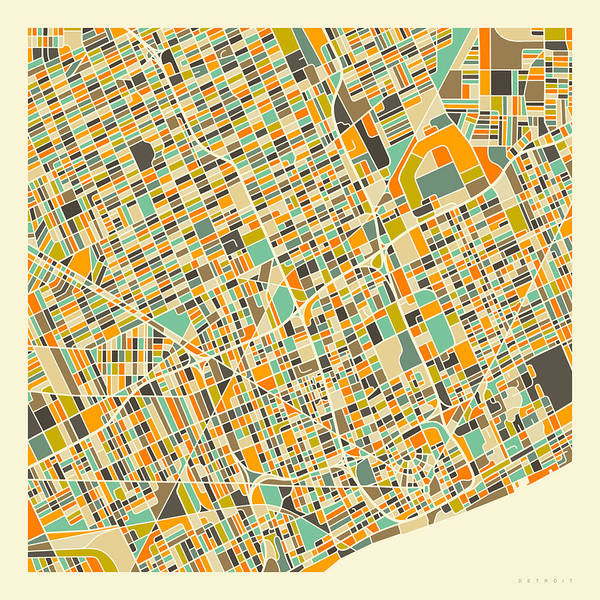 Detroit Poster featuring the digital art Detroit Map 1 by Jazzberry Blue
