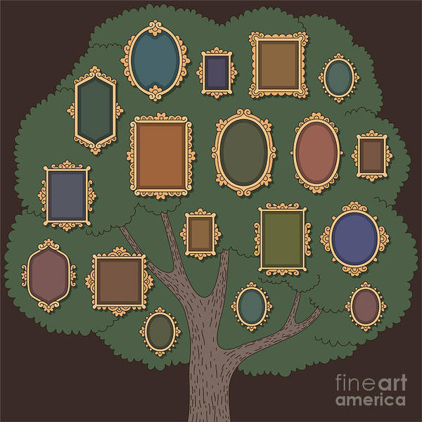 Template Poster featuring the digital art Family Tree With Several Old-fashioned by Reinekke