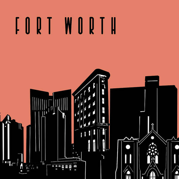 Fort Worth Poster featuring the digital art Fort Worth Skyline Panorama Red by Bekim Art