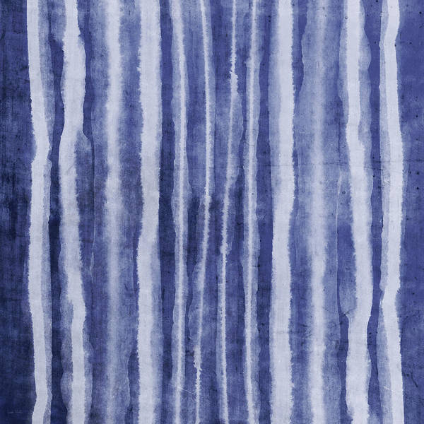 Blue Poster featuring the painting Indigo Water Lines- Art By Linda Woods by Linda Woods
