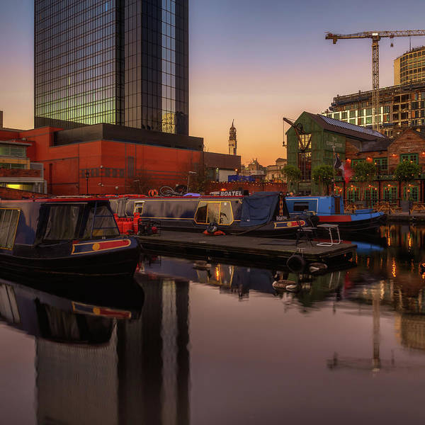 The Canal House Poster featuring the photograph Last Light On Gas Street Basin by Chris Fletcher