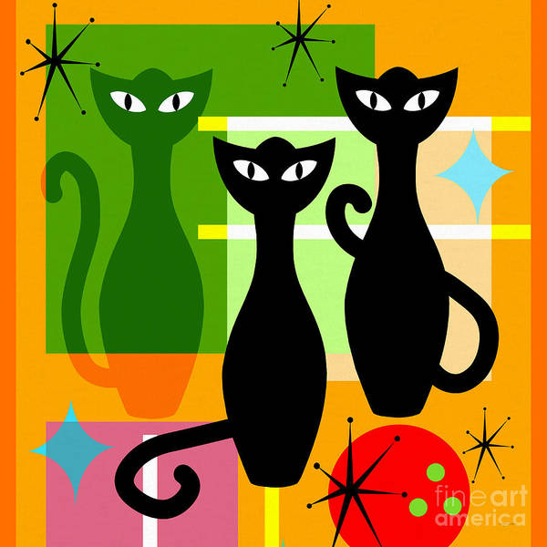 Wingsdomain Poster featuring the digital art Mid Century Modern Abstract Mcm Bowling Alley Cats 20190113 Square by Wingsdomain Art and Photography