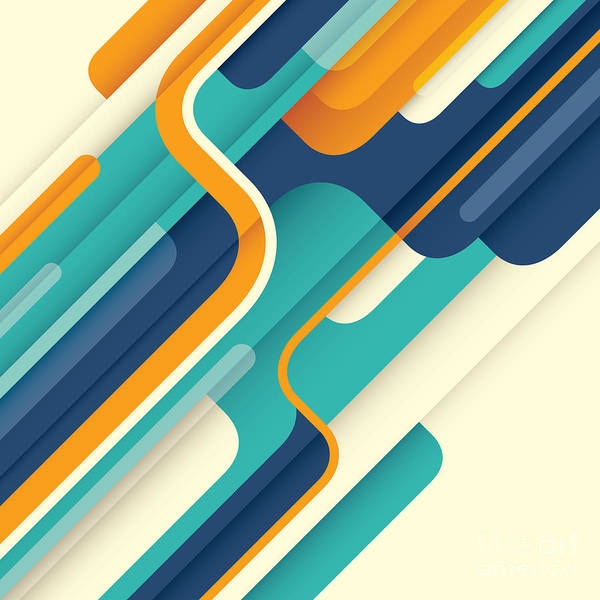 Template Poster featuring the digital art Modern Abstract Illustration In Color by Radoman Durkovic