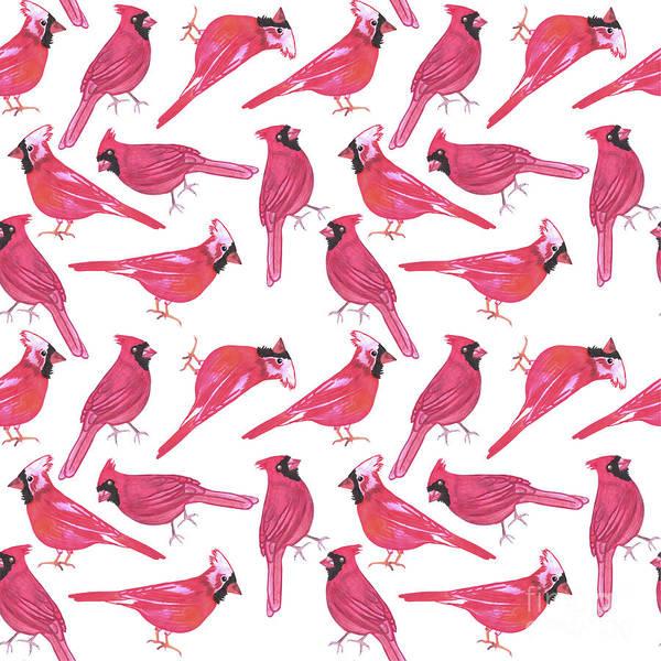 Bird Poster featuring the digital art Northern Cardinal Or Cardinalis Cardinalis Watercolor Birds Painting by Shawlin