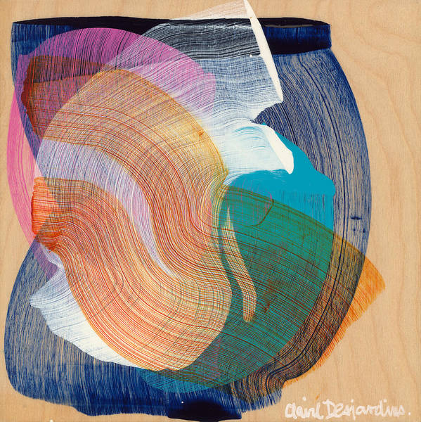 Abstract Poster featuring the painting Out Of The Blue 07 by Claire Desjardins