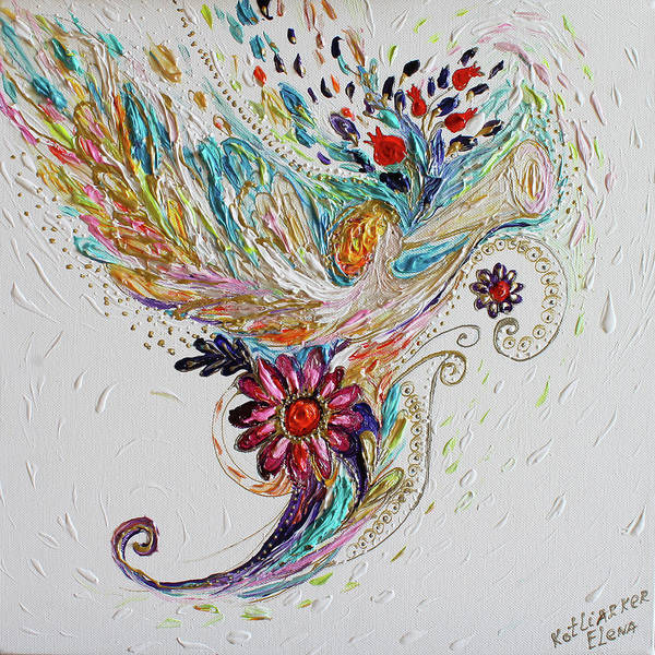 Angels Poster featuring the painting Pure Abstract #4. Trumpeting Angel by Elena Kotliarker