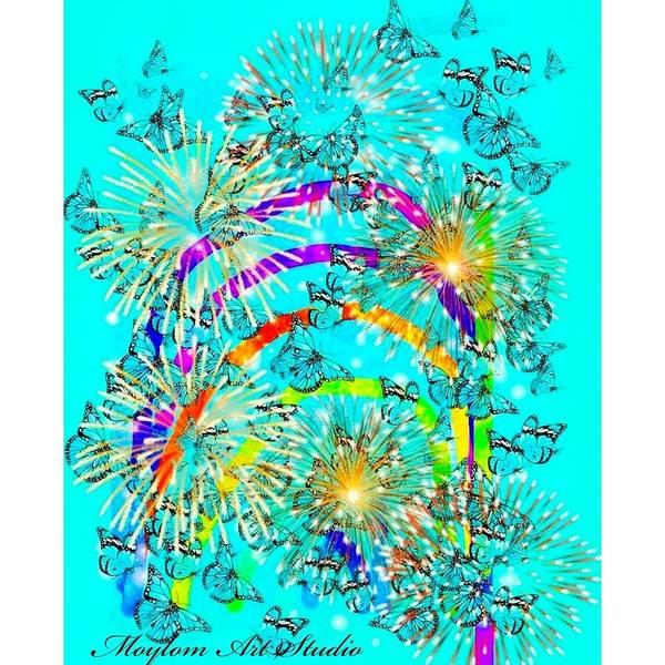 Rainbows Poster featuring the digital art Rainbow Fireworks 24 by Moylom Art Studio