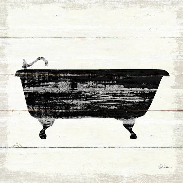 Bath Poster featuring the painting Shiplap Bath I by Sue Schlabach