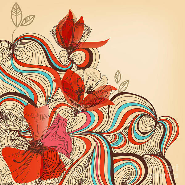 Happy Poster featuring the digital art Vector Floral Background by Danussa