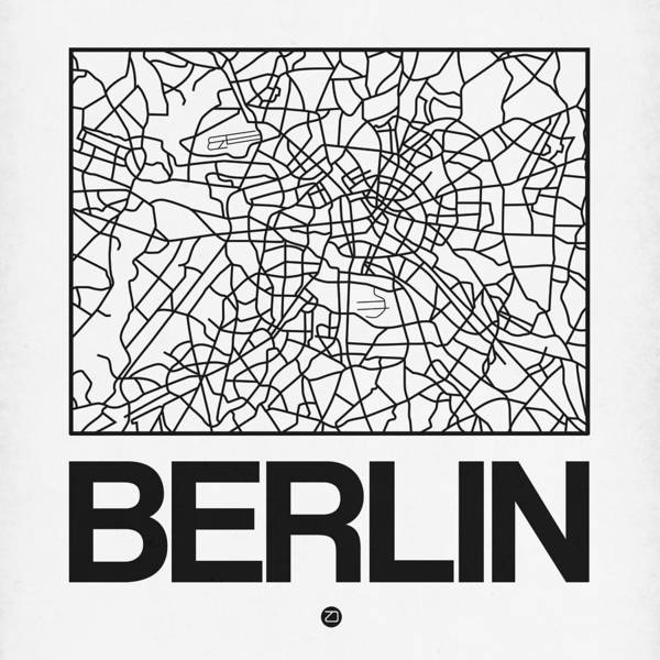 Berlin Map Poster featuring the digital art White Map Of Berlin by Naxart Studio