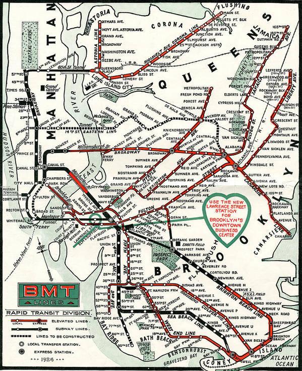 Bmt Subway Map.1924 Map Brooklyn Manhattan Transit Poster