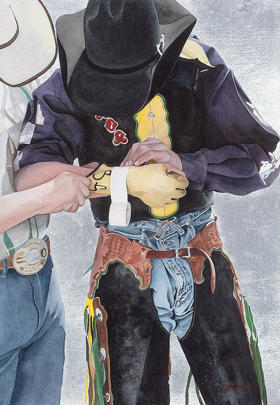 Rodeo Poster featuring the painting One Last Detail by JK Dooley