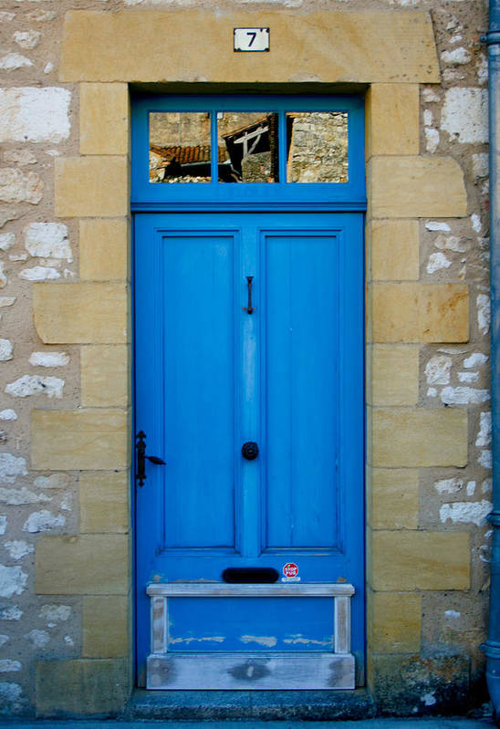 Rustic Poster featuring the photograph South Of France Rustic Blue Door by Georgia Fowler