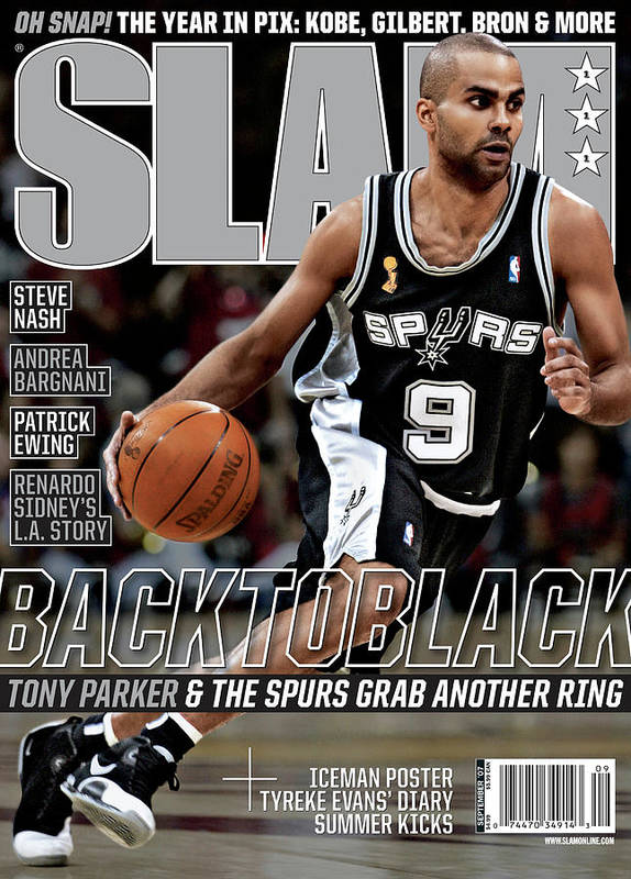 Tony Parker Poster featuring the photograph Back to Black: Tony Paker & The Spurs Grab Another Ring SLAM Cover by Getty Images