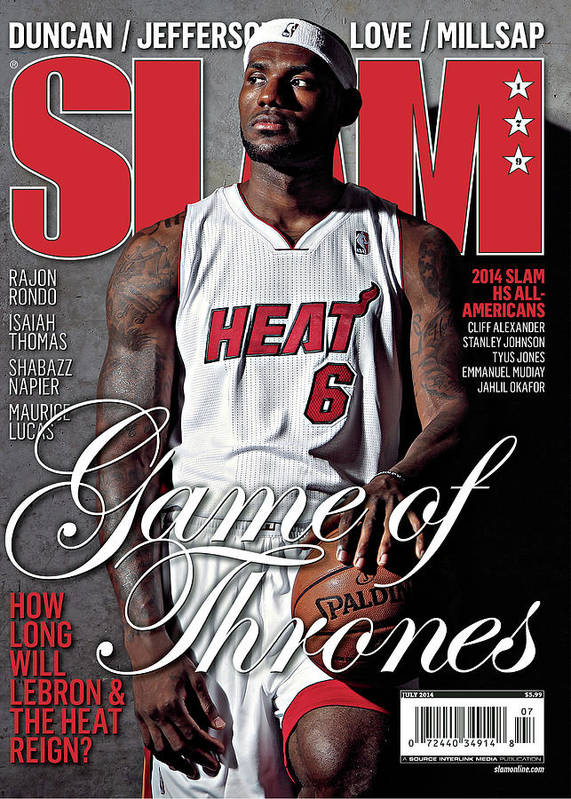 Lebron James Poster featuring the photograph Game of Thrones: How Long Will LeBron & The Heat Reign? SLAM Cover by Getty Images
