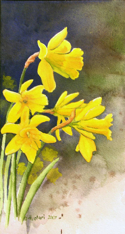 Rick Huotari Poster featuring the painting Daffodils by Rick Huotari