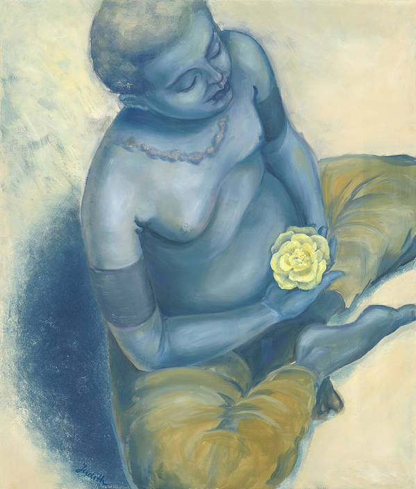 Meditation With Flower Poster featuring the painting Meditation With Flower by Judith Grzimek