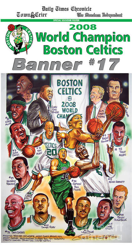 Nba Poster featuring the drawing 2008 Boston Celtics Team Poster by Dave Olsen