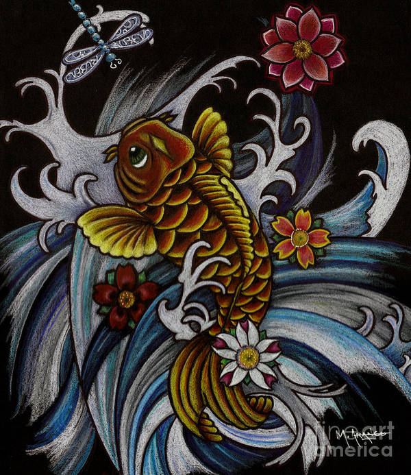 Asian Koi Poster featuring the drawing Watching Over Natilius by Maria Arango