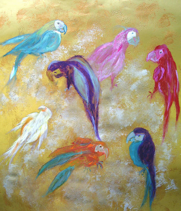 Exotic Poster featuring the painting All Dressed Up - Parrots by Michela Akers