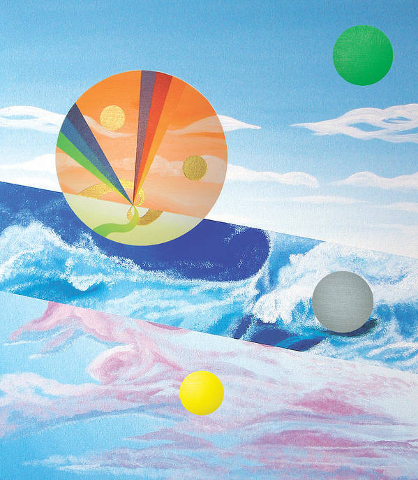 Abstract Poster featuring the painting Blue Wave by Eliot LeBow