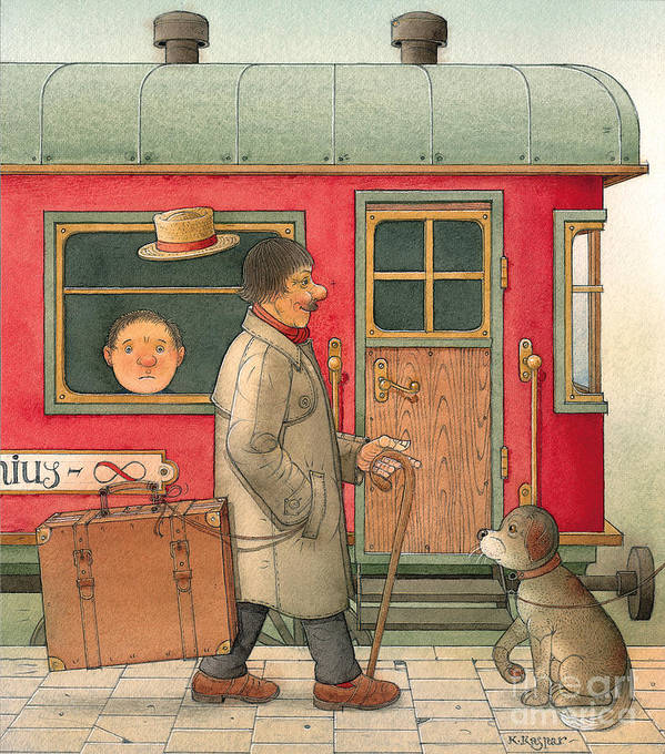 Dream Suitcase Train Trip Travel Poster featuring the painting Dream Suitcase by Kestutis Kasparavicius
