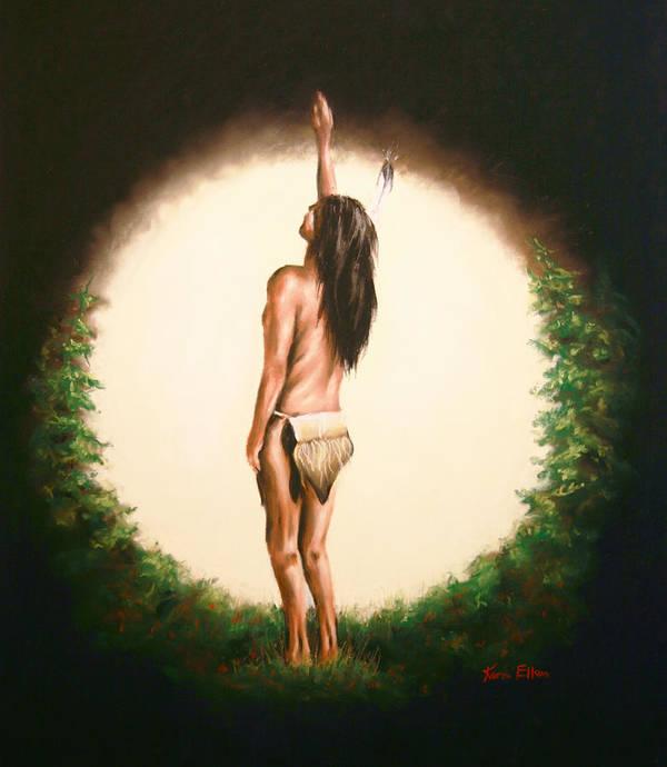 Native American Poster featuring the pastel Sundance 2 by Karen Elkan