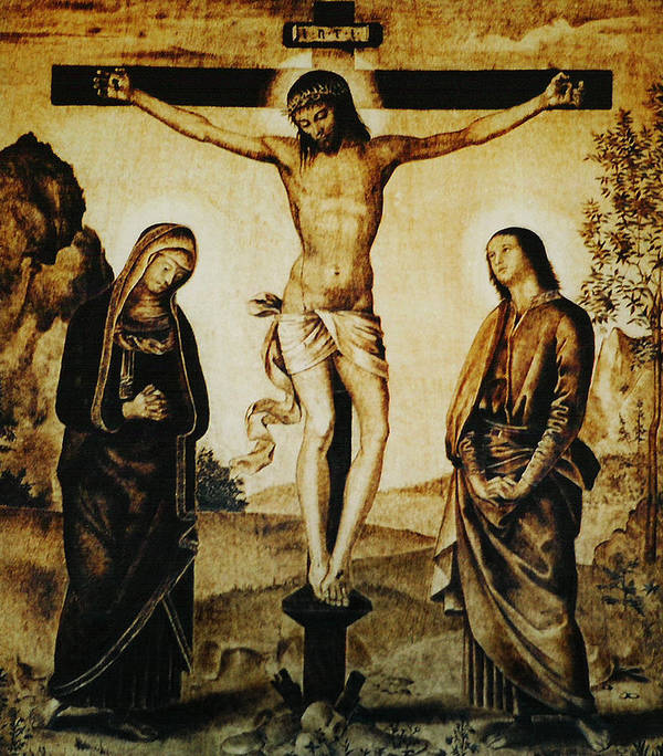 Dino Muradian Poster featuring the pyrography The Crucifixion by Dino Muradian
