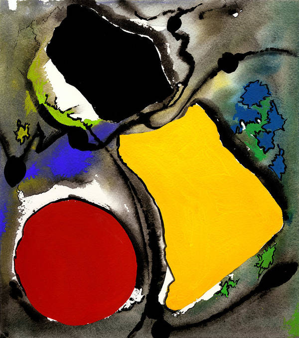 Watercolor Print Abstract Painting Abstract Print Contemporary Print Watercolor Gouache Poster featuring the painting Fantasia by Ralf M Broughton