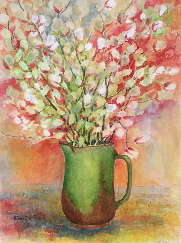 Pussy Willow Poster featuring the painting Pussy Willow And Pitcher by Barbel Amos