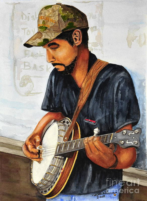 Banjo Poster featuring the painting Banjo Player by John W Walker