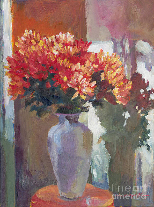 Still Life Poster featuring the painting Chrysanthemums In Vase by David Lloyd Glover