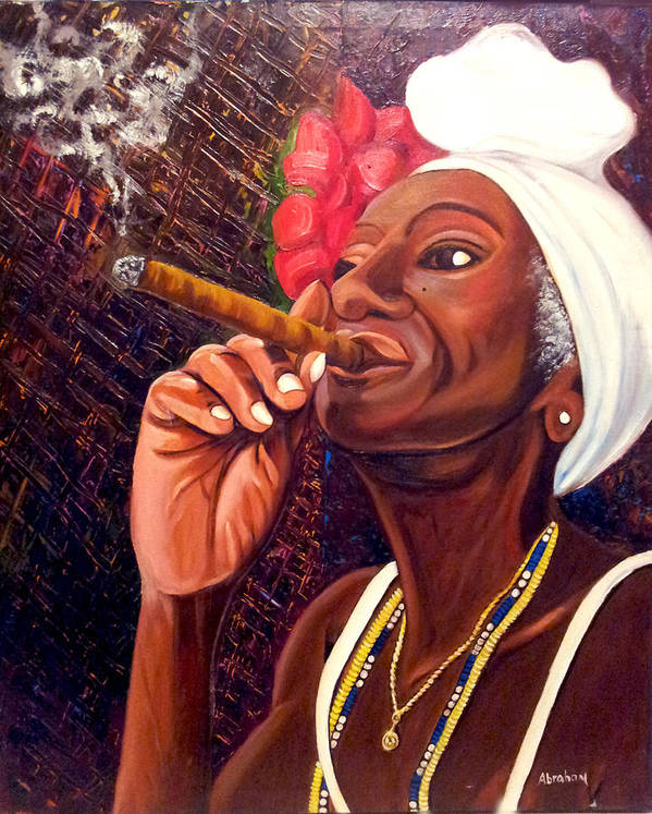 Cuban Art Poster featuring the painting  Cigar Lady by Jose Manuel Abraham