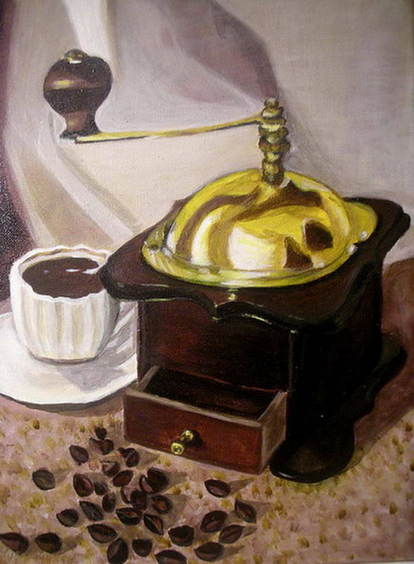 Brown Poster featuring the painting Cup Of Coffee by Vera Lysenko