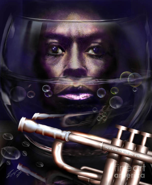 Miles Davis Poster featuring the painting Fish Bowl Of Miles by Reggie Duffie