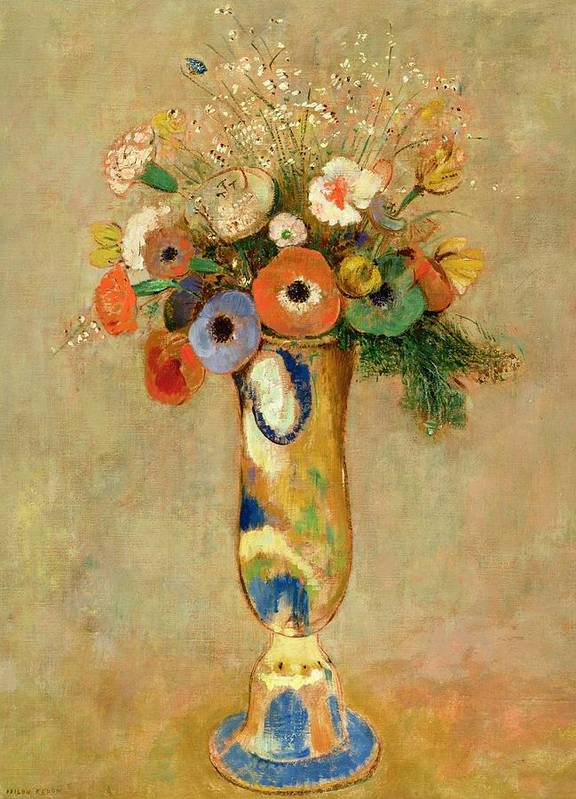 Poppies; Carnations Poster featuring the painting Flowers In A Painted Vase by Odilon Redon