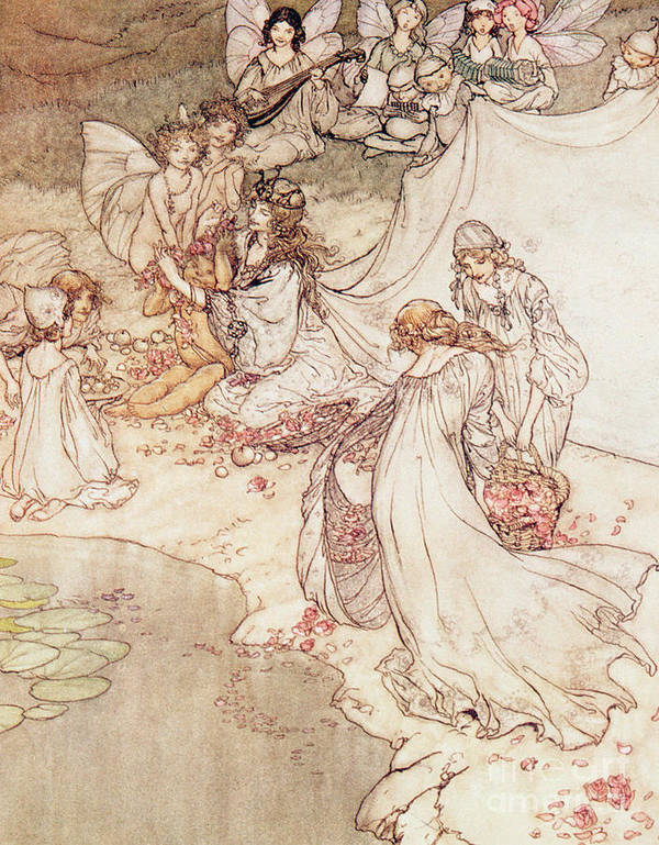 Fairies; Magical; Flowers; Garlands; Music; Lyle; Wings; Frail; Fragile; Delicate; Beautiful Poster featuring the drawing Illustration For A Fairy Tale Fairy Queen Covering A Child With Blossom by Arthur Rackham
