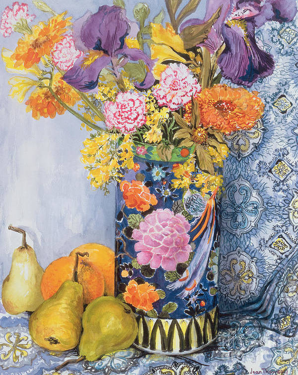 Flower; Still Life; Pear; Fruit; Flowers; Irises Poster featuring the painting Iris And Pinks In A Japanese Vase With Pears by Joan Thewsey