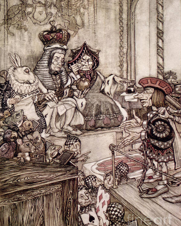 Court; Dock; Judge; Trial; White Rabbit; Jam Tarts; Alice Poster featuring the drawing Knave Before The King And Queen Of Hearts Illustration To Alice S Adventures In Wonderland by Arthur Rackham