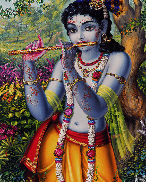 Krishna Poster featuring the painting Krishna With Flute by Vrindavan Das
