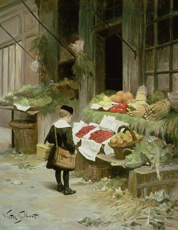 Satchel; Uniform; Cap Poster featuring the painting Little Boy At The Market by Victor Gabriel Gilbert