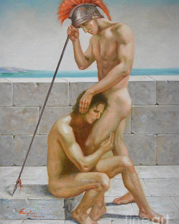 Oil Painting Art Poster featuring the painting Original Man Body Oil Painting Gay Art -two Male Nude By The Sea by Hongtao Huang