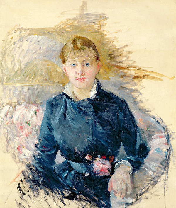 Female; Seated; Impressionist; Berthe Morisot Poster featuring the painting Portrait Of Louise Riesener by Berthe Morisot
